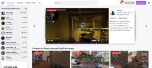 Pagina de inicio de Twitch