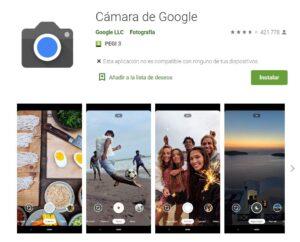 Play Store Cámara de Google