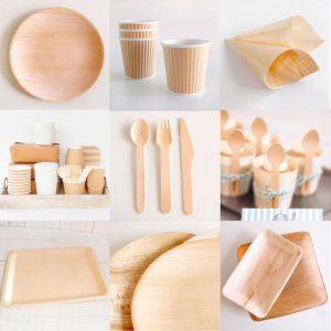 cubertería de bambú