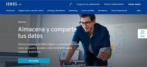 pagina de inicio HiDrive de IONOS